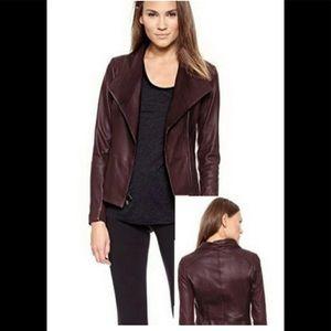 Vince Leather Brown Scuba Jacket Size XS